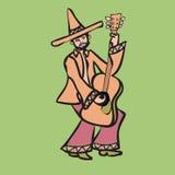 Mexicaanse musicus het spelen gitaar royalty-vrije illustratie