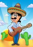 Mexicaanse musicus met zonsondergang stock illustratie