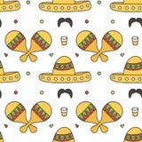 Mexicaanse naadloze patroonachtergrond met maracas, sombrero, tequila Stock Afbeeldingen