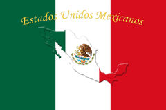 Mexicaanse Nationale Vlag met Eagle Coat Of Arms en Tekst Estados Royalty-vrije Stock Afbeeldingen