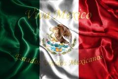 Mexicaanse Nationale Vlag met het 3D Teruggeven van Eagle Coat Of Arms Royalty-vrije Stock Foto's
