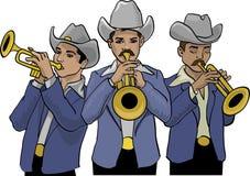 Mexicaanse noordelijke muziekband en trompetten stock illustratie