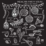 Mexicaanse partijideeën, cincode Mayo elementen vector illustratie