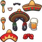 Mexicaanse partijsteunen stock illustratie