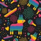 Mexicaanse patroonachtergrond van het leuke art. van Mexico Royalty-vrije Stock Foto