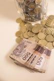 Mexicaanse pesobankbiljetten en muntstukken Royalty-vrije Stock Afbeeldingen