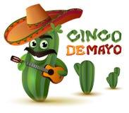 Mexicaanse pretcactus in de gitaar van sombrerospelen Cinco DE Mayo stock illustratie