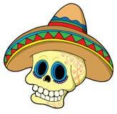 Mexicaanse schedel in sombrero Stock Fotografie