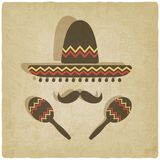 Mexicaanse sombrero oude achtergrond Stock Afbeelding
