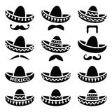 Mexicaanse Sombrerohoed met snor of snorpictogrammen Stock Foto