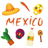 Mexicaanse symbolen, Pictogrammen van Mexico Cactus, maracas, masker, sombrero, Spaanse peper, tequila Stock Foto's
