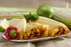 Mexicaanse tamales op plaat. Stock Afbeelding