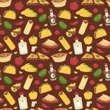 Mexicaanse traditionele schotel met achtergrond van het het voedsel de vector naadloze patroon van vleesmexico royalty-vrije illustratie