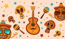 Mexicaanse vakantie Cinco de Mayo Vectormalplaatje met traditionele Mexicaanse symbolenschedel, gitaar, Mexicaanse Maracas Dag va Stock Foto