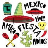 Mexicaanse van beeldverhaalelementen en woorden inzameling Het decor van de Cincode Mayo vakantie Krabbelhand getrokken decoratie