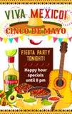 Mexicaanse vector de fiestauitnodiging van Cinco de Mayo