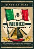 Mexicaanse vector de schetsaffiche van vakantiecinco de mayo