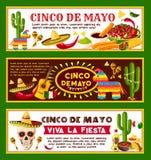 Mexicaanse vectorbanners voor Cinco de Mayo-vakantie