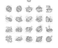 Mexicaanse voedsel goed-Bewerkte Pictogrammen 30 van de Pixel Perfecte Vector Dunne Lijn 2x Net voor Webgrafiek en Apps stock illustratie