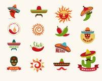 Mexicaanse voedselpictogrammen, menuelementen voor restaurant Royalty-vrije Stock Foto