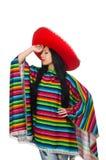 Mexicaanse vrouw in grappig concept op wit Stock Fotografie