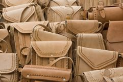 Mexicah Handbags. Mexican leather handbags for sale at an outdoor market in Chiapas, Mexico stock photos