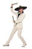 Mexicain drôle dans le costume jugeant des maracas d'isolement dessus Images libres de droits