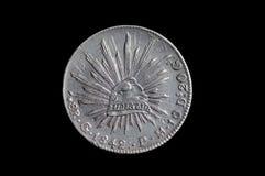 Mexicain pièce en argent 1842 de 8 reals photos libres de droits
