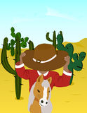 Mexican. Vector image of a Mexican on horseback Stock Photography