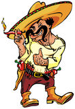 Mexican. Cool mexican man with hot paprika Royalty Free Stock Photography