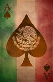 Mexican ace of spades Grunge poster background - flag. Easy edit Stock Images