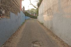 Mexican Alley. At sunset douring magic hour. Somewhere in Mexico city Royalty Free Stock Image
