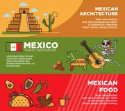 Mexican architecture and food on promotional posters set Stock Photo