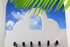 Mexican architecture white archs blue sky. In Mayan Riviera royalty free stock image
