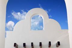 Mexican architecture white archs blue sky. In Mayan Riviera stock images