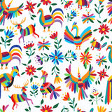 Mexican art pattern with animal and flowers Royalty Free Stock Image