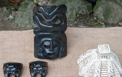 Mexican art pieces mask. Statue royalty free stock image