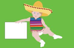 Mexican baby. Illustration of a cute chubby boy wearing a Mexican shirt and sombrero, with a white blank sign Stock Image
