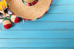 Mexico, Mexican sombrero blue wood background copy space Stock Photo