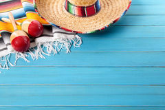 Mexico : Mexican fiesta background sombrero copy space Stock Image