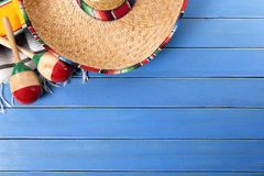Mexico, Mexican background sombrero wood copy space Stock Images