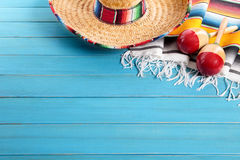 Mexico, Mexican sombrero wood background, copy space, horizontal Stock Image