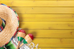Mexican sombrero wood background copy space Royalty Free Stock Photography