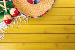 Mexico, Mexican background sombrero wood copy space royalty free stock images