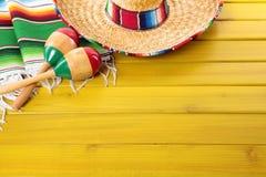 Mexico, Mexican fiesta background sombrero wood copy space Stock Photos
