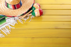Mexico, Mexican fiesta background sombrero maracas wood copy space Royalty Free Stock Image
