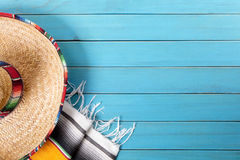 Mexico mexican sombrero background wood copy space Stock Image