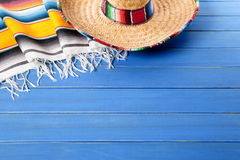 Mexico, Mexican sombrero wood background copy space Stock Images