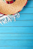 Mexico blue wood background, Mexican sombrero copy space vertical Royalty Free Stock Image