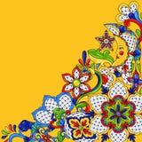 Mexican background design. Traditional decorative objects. Talavera ornamental ceramic. Ethnic folk ornament stock illustration